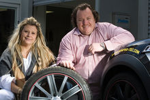 Chris and Deborah Chester, owners of RimPro-Tec, a method of protecting car wheels from kerb damage using a plastic strip on the wheel rim. Photo / Paul Estcourt