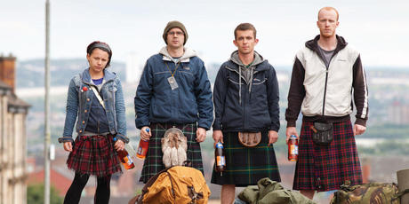 Paul Brannigan (third from left) was plucked from the streets of Glasgow to play unemployed Robbie in The Angel's Share. Photo / Supplied