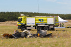 The crashed Air Trainer in which Squadron Leader Nick Cree died. Photo / Supplied