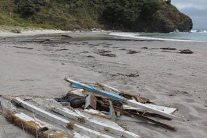 Wreckage of the yacht Boadicea washed up at Tapotupotu Bay, near Cape Reinga. File photo / Peter de Graaf