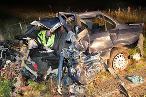 Speed was believed to be a factor in the accident that ripped apart this BMW. Photo / APN