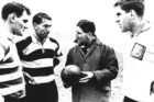 Brian Lochore, Kel Tremain, coach Fred Allen and Colin Meads talk tactics during the 1967 Northern Hemisphere tour. Photo / Supplied