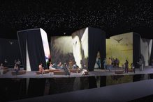 The 2500sq m New Zealand Pavilion at Frankfurt Book Fair is described as 'an island in twilight, floating in an ocean under a starry sky'. Photo / Supplied