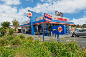 The Burger King building in Albany enjoys high visibility. Right: Ocean Drycleaners in in the Sentinel Apartments building in Takapuna.