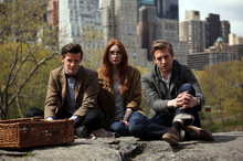 Doctor Who (left) bids adieu to long-time companions Amy and Rory. Photo / Supplied