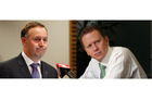 The glass is half full for John Key (lfet) and half empty for Russel Norman (right). Photo / APN