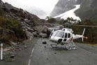 Geotech experts are removing boulders that came crashing down in Milford Sound.Photo / NZTA