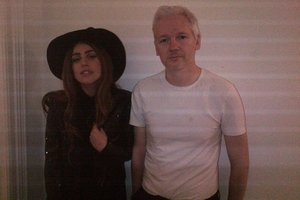Lady Gaga and Wikileaks founder Julian Assange pose for a photo during their private dinner. Photo / Supplied