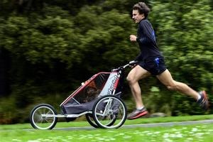 Dunedin runner Dougal Thorburn and his daughter are out to smash a world record in Outram on Sunday. Photo / Peter McIntosh