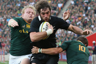 Sam Whitelock scores a try during the All Blacks test against South Africa. Photo / Getty