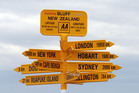 AA road sign post, Bluff, New Zealand. Photo / Ross Setford, NZPA