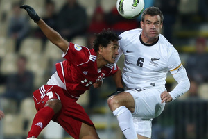 Ryan Nelsen of the All Whites battles with Stanley Atani of Tahiti. Photo / Getty Images