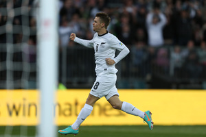 Michael McGlinchey of the All Whites celebrates after scoring a goal. Photo / Getty Images