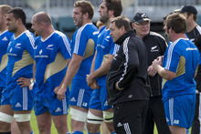  All Blacks coach Steve Hansen looks on during a New Zealand All Blacks training session at AMI Stadium. Photo / Getty Images.