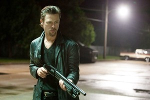 Brad Pitt shows he means business in Killing Them Softly. Photo / Supplied