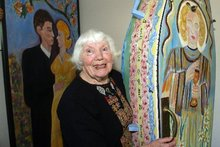 Mary Wait and her painted coffin. Photo / Wairarapa Times-Age 