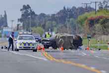 The fatal accident scene at State Highway 1, north of Timaru. Photo / Herald On Sunday