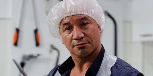 A group of Asian gangsters get more than they bargained for when they take Hemi Crane (Temuera Morrison) and his family hostage in new comedy horros film Fresh Meat. Photo / Supplied