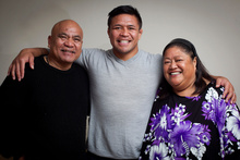 Keven Mealamu has always had the support of his parents, Luka and Tise, and they will be watching as he takes the field in Brisbane for test number 100 in the All Black jersey. Photo / Natalie Slade