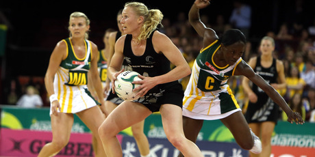 Laura Langman with South African Centre Bongiwe Msomi at last night's International Quad Series game - New Zealand v South Africa. Photo / Reed Sarah