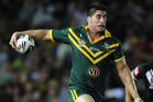 James Tamou steps Kiwis hooker Issac Luke on his way to an outstanding try. Photo / Getty Images
