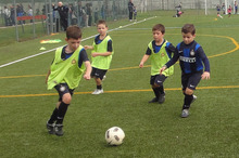 Alex Cooke (with the ball) is the first Kiwi to get into the Football Club Internazionale in Milan. Photo / Supplied