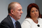 Brendan Boyle and Paula Bennett discuss the IT cracks found by Ira Bailey (left). Photo / Mark Mitchell