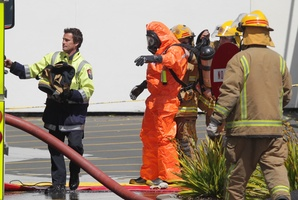 Firefighters had to decontaminate the patient arriving at Tauranga Hospital. Photo / Bay of Plenty Times