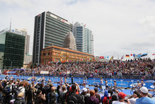 Competitors found plenty of support. Photo / Getty Images