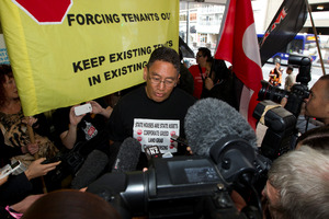 MP Hone Harawira after his appearance at the Auckland District Court this morning. Photo / NZ Herald