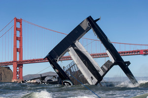 The catamaran pitch-poled in San Francisco Bay, digging both bows and the wingsail into the water. Photo / TEAM ORACLE
