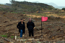 Deborah Harding and Mikaera Miru of the Te Uri O Hau Settlement Trust stand where the third green will be at Te Arai Pt. Photo / Brett Phibbs
