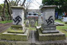 Jewish graves have been desecrated with Nazi emblems at the Grafton Cemetery on Karangahape Rd. Photo / Chris Gorman