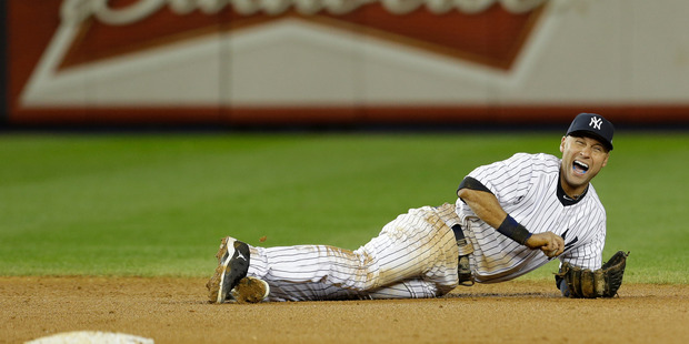 38-year-old Derek Jeter, voted the most marketable player in baseball, faces a long recovery after breaking his ankle while fielding a ground ball. Photo / Paul Sancya