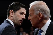 A combative Joe Biden (right) showed
