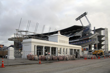 The grandstands at Christchurch's AMI Stadium can be fixed. Photo / Geoff Sloan