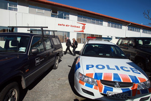 Department of Labour officials arrive at the offices of Safe Air in Blenheim, following the fatal accident in August last year. Photo / Timm Cuff Tim C
