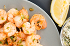Chilli prawns with rocket lemon mayo. Photo / Babiche Martens
