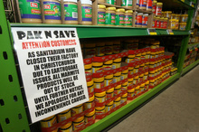 The Marmite space in Masterton Pak'nsave filled up with Vegemite. Photo / Wairarapa Times-Age