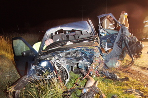 The four occupants of a BMW 320i were seriously injured after their car left Racecourse Road in Waipukurau. Photo / Warren Buckland