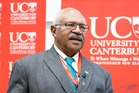 Sitiveni Rabuka talking at the Pacific conference on democracy at the University of Canterbury today. Photo / supplied
