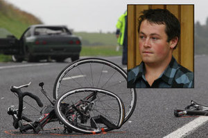 The accident scene where David Armstrong was fatally hit by driver Dillon Bishop (inset). Photo / Bay of Plenty Times