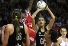 Maria Tutaia of the Silver Ferns shoots for a goal. Photo / Getty Images
