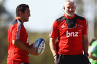 Daryl Gibson, left, with Crusaders coach Todd Blackadder. Photo / Getty Images