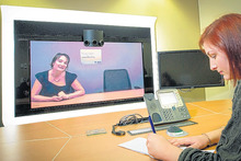 Lisa Epplett (on screen) talks to Kasia Jillings via video. Picture / Ted Baghurst