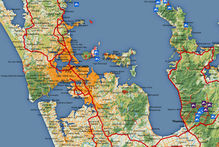 A partial view of the map of New Zealand on the Walking Access Mapping System website. Image / Walking Access Mapping System