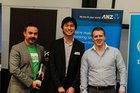 Zend ceo and guest speaker Vaughn Rowsell (l) with winning team members Shaun Tan and Oliver McGregor. Photo / supplied