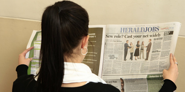 Newspaper job advertisment listings fell 5.9 per cent last month. Photo / NZH
