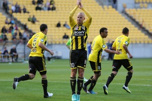 Stein Huysegems of the Phoenix celebrates his goal against Brisbane. Photo / Getty Images