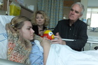Kirsten, Gerri and Jim Steinke in Waikato Hospital. Photo / supplied